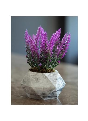 Çiçekmisin Mermer Görünümlü Saksıda Lavanta Yapay Çiçek Fuşya